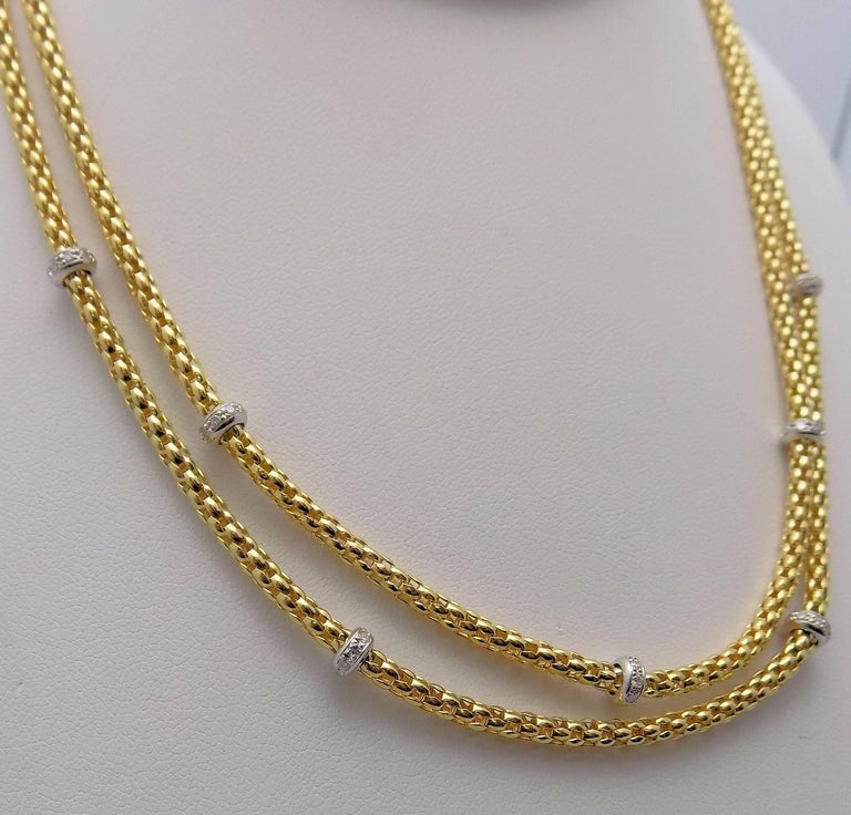 Double Strand Diamond Necklace by Fope In New Condition For Sale In Dallas, TX