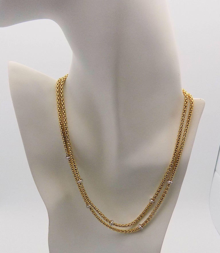 Women's Double Strand Diamond Necklace by Fope For Sale
