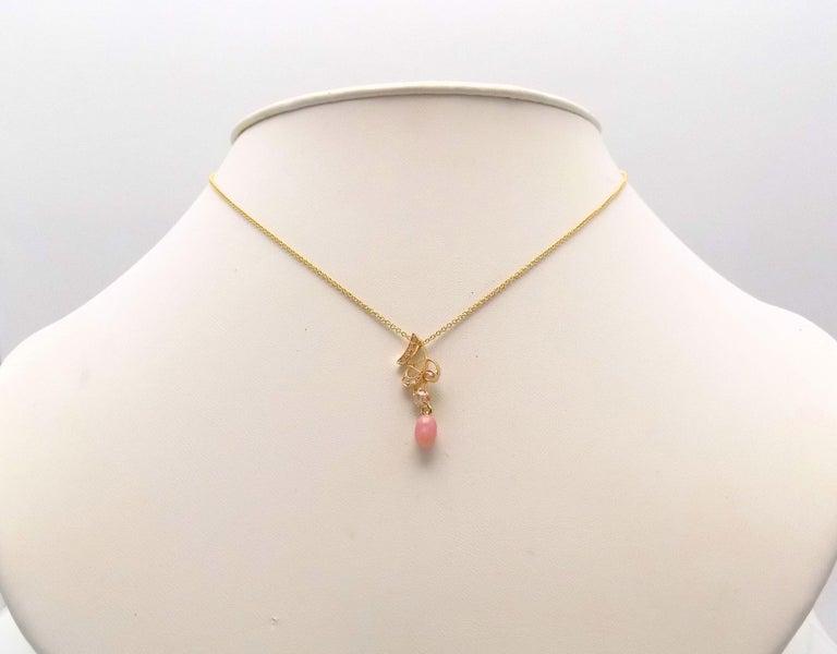 Women's Natural Light Pink Conch Pearl and Diamond Art Nouveau Pendant For Sale