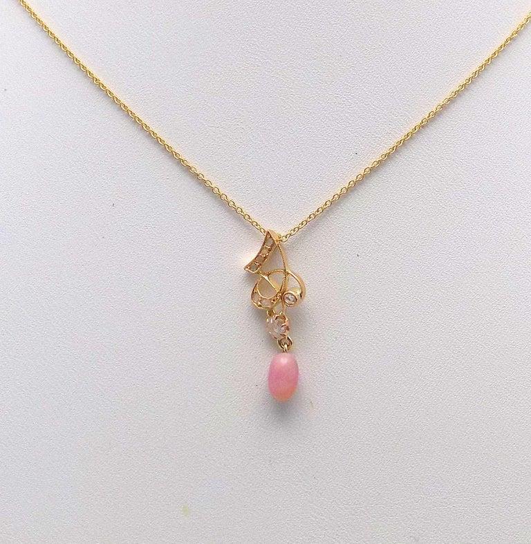 Rose Cut Natural Light Pink Conch Pearl and Diamond Art Nouveau Pendant For Sale