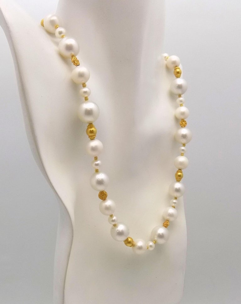 Women's Strand of South Sea and Fresh Water Cultured Pearls with Gold Beads For Sale