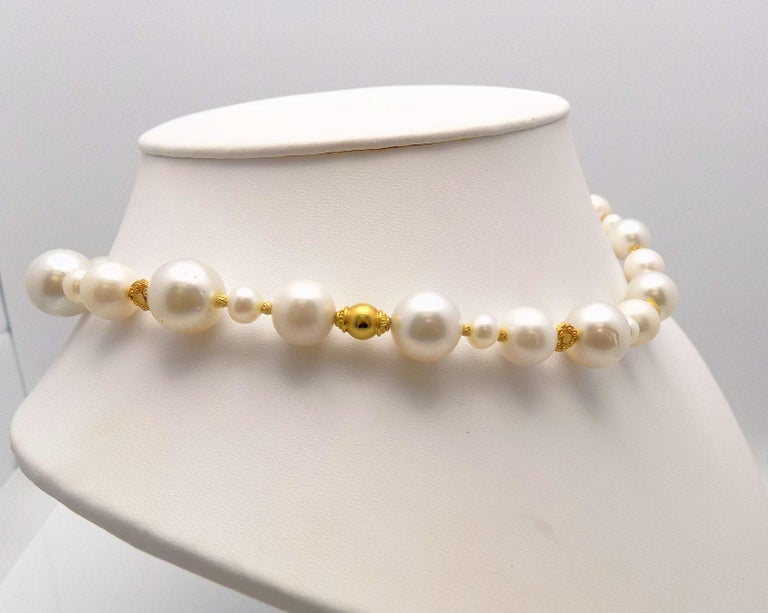 Strand of South Sea and Fresh Water Cultured Pearls with Gold Beads In New Condition For Sale In Dallas, TX