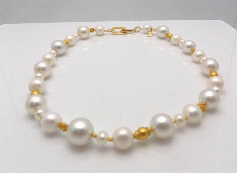 Strand of South Sea and Fresh Water Cultured Pearls with Gold Beads For Sale 1