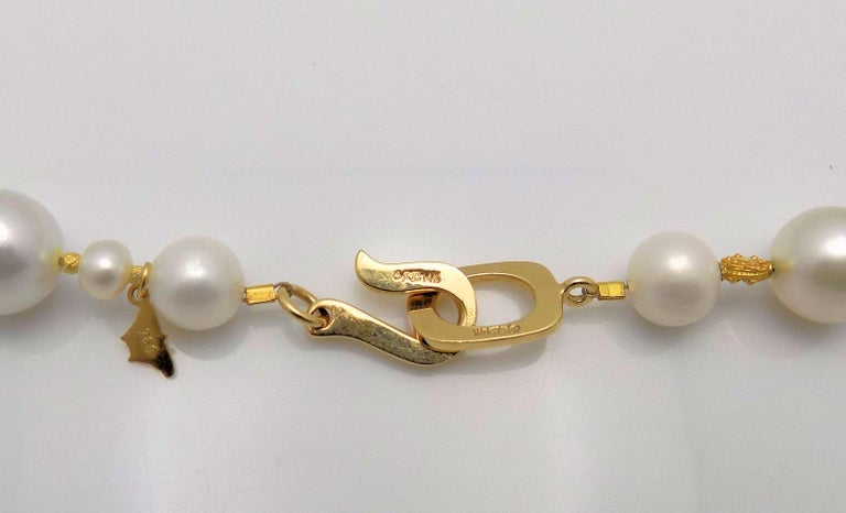 Strand of South Sea and Fresh Water Cultured Pearls with Gold Beads For Sale 2