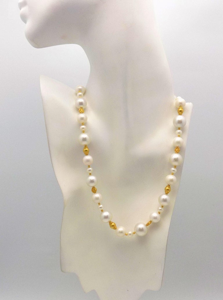 Strand of South Sea and Fresh Water Cultured Pearls with Gold Beads For Sale 3