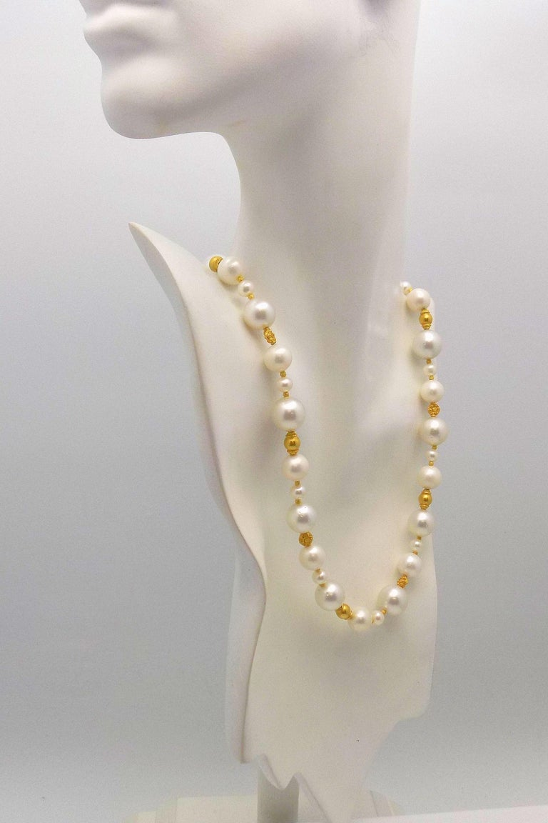 Strand of South Sea and Fresh Water Cultured Pearls with Gold Beads For Sale 4