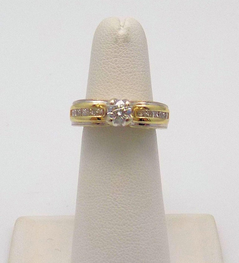 Round Cut White Gold/Yellow Gold Cathedral Diamond Engagement Ring For Sale