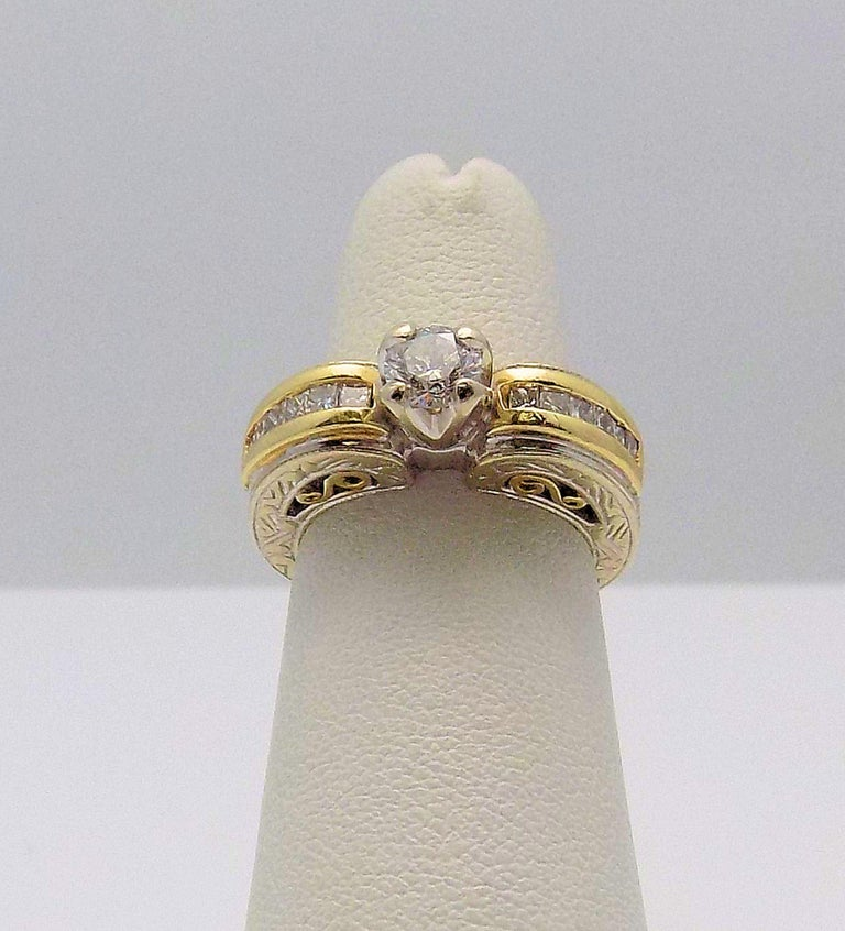 Belle Époque White Gold/Yellow Gold Cathedral Diamond Engagement Ring For Sale