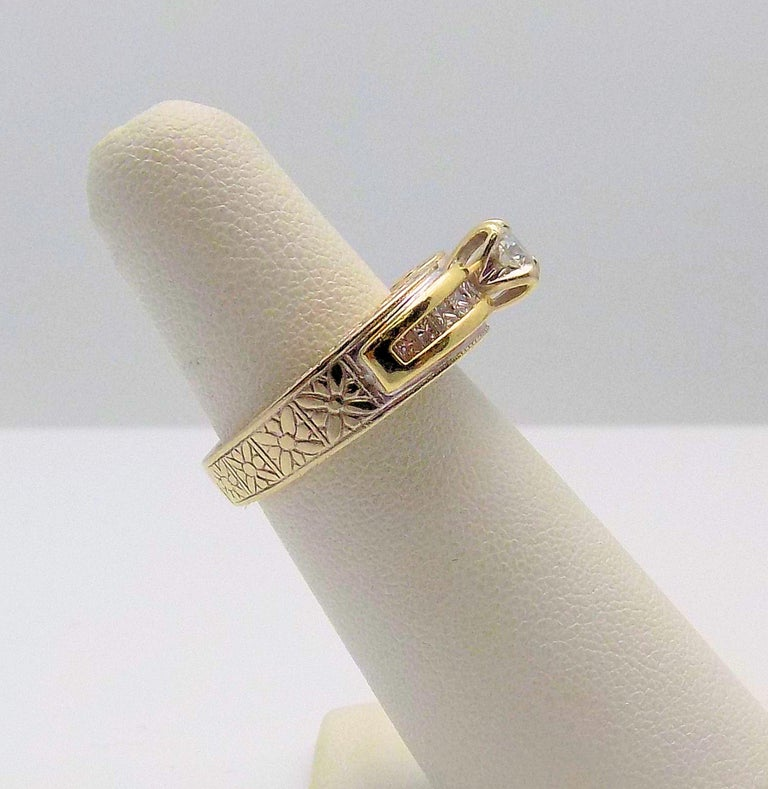 White Gold/Yellow Gold Cathedral Diamond Engagement Ring In New Condition For Sale In Dallas, TX