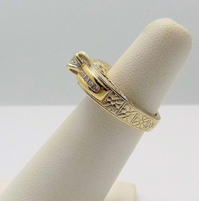 Women's White Gold/Yellow Gold Cathedral Diamond Engagement Ring For Sale
