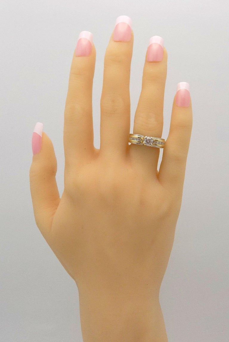 White Gold/Yellow Gold Cathedral Diamond Engagement Ring For Sale 3