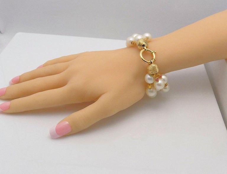 Three-Strand South Sea Cultured Pearl, Diamond and Pink Tourmaline Bracelet For Sale 2
