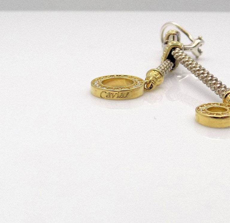 Women's Lagos Caviar 18 Karat Yellow Gold and Sterling Silver Diamond Earrings For Sale