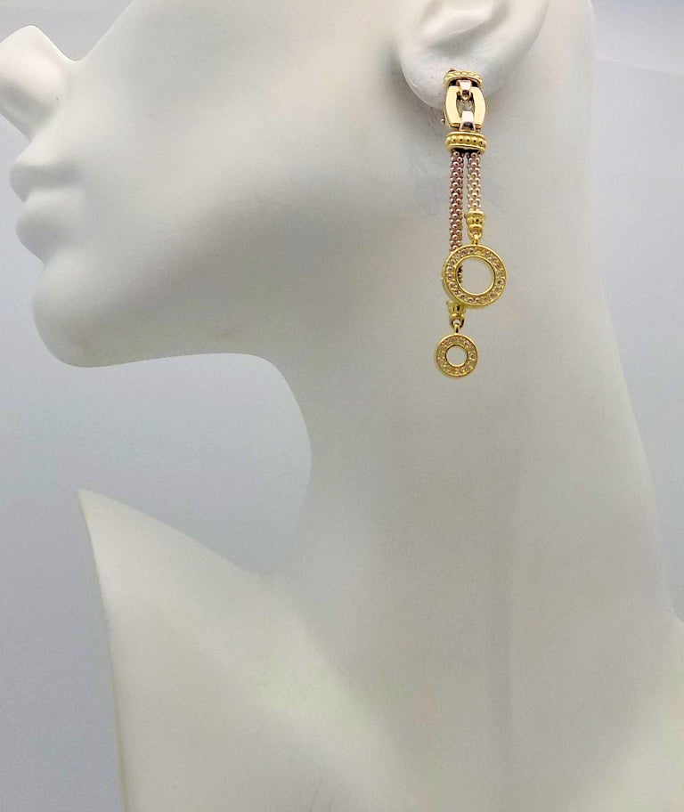 Lagos Caviar 18 Karat Yellow Gold and Sterling Silver Diamond Earrings For Sale 2
