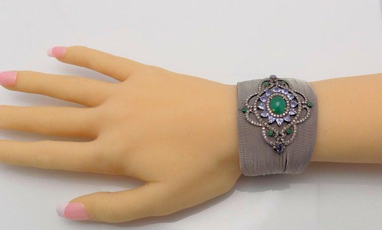 Emerald Cut Steel/Silver Mesh Emerald, Tanzanite and Diamond Hinged Bracelet For Sale