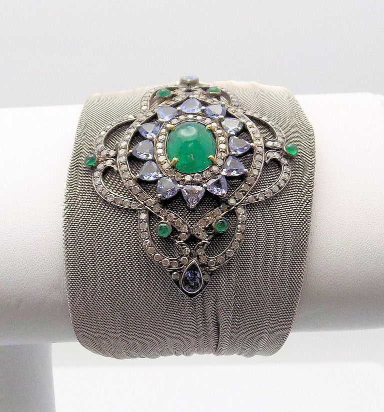 Steel/Silver Mesh Emerald, Tanzanite and Diamond Hinged Bracelet In As New Condition For Sale In Dallas, TX