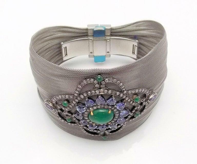 Women's Steel/Silver Mesh Emerald, Tanzanite and Diamond Hinged Bracelet For Sale