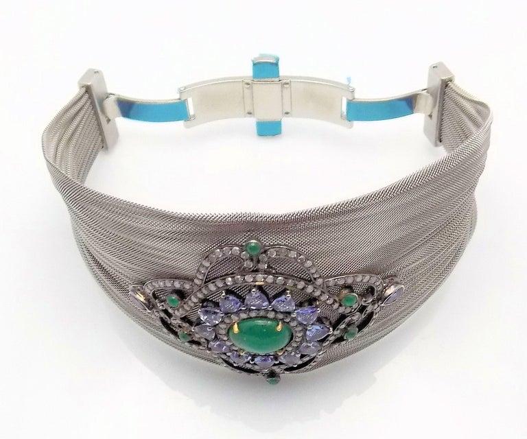 Steel/Silver Mesh Emerald, Tanzanite and Diamond Hinged Bracelet For Sale 1