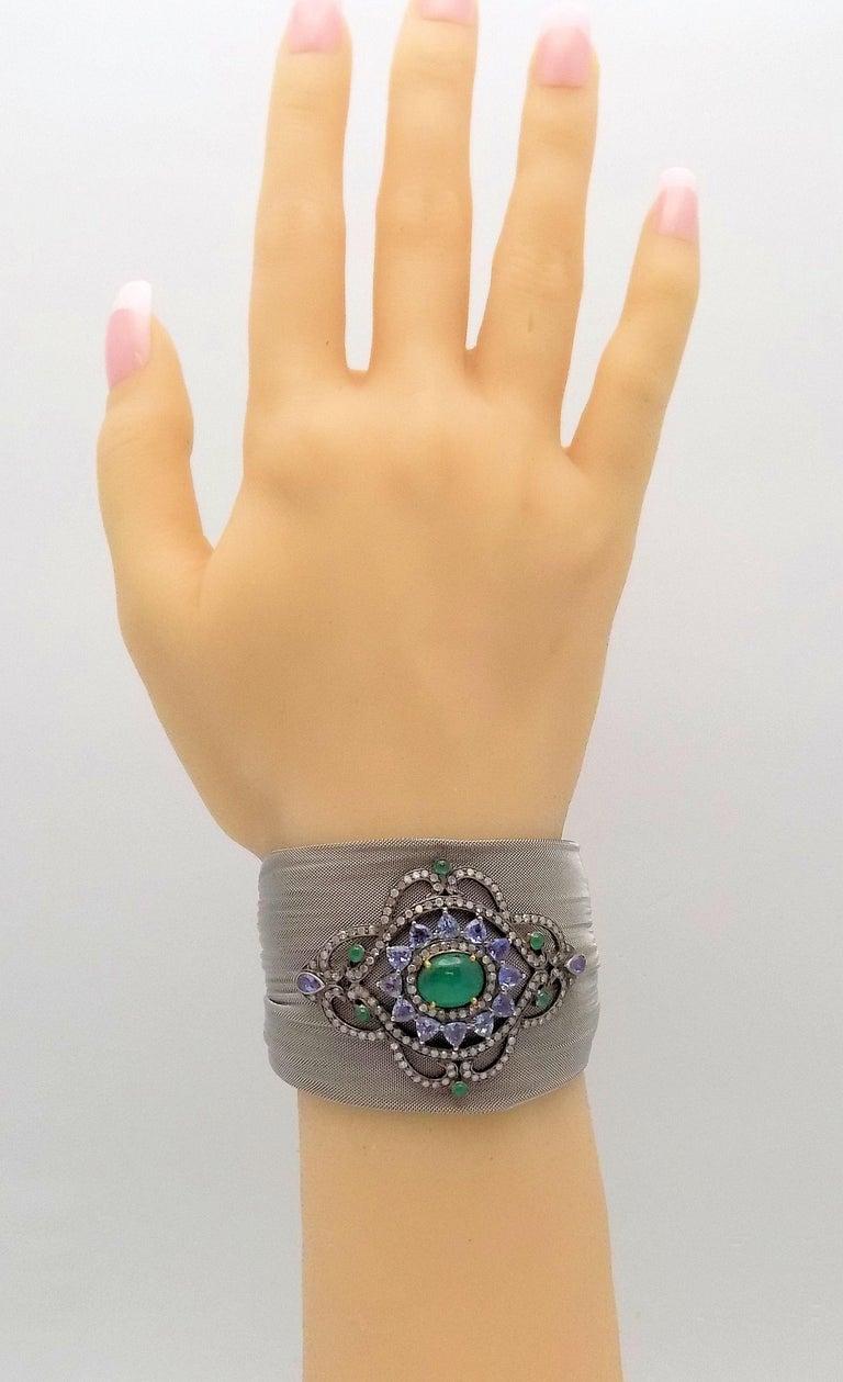 Steel/Silver Mesh Emerald, Tanzanite and Diamond Hinged Bracelet For Sale 2