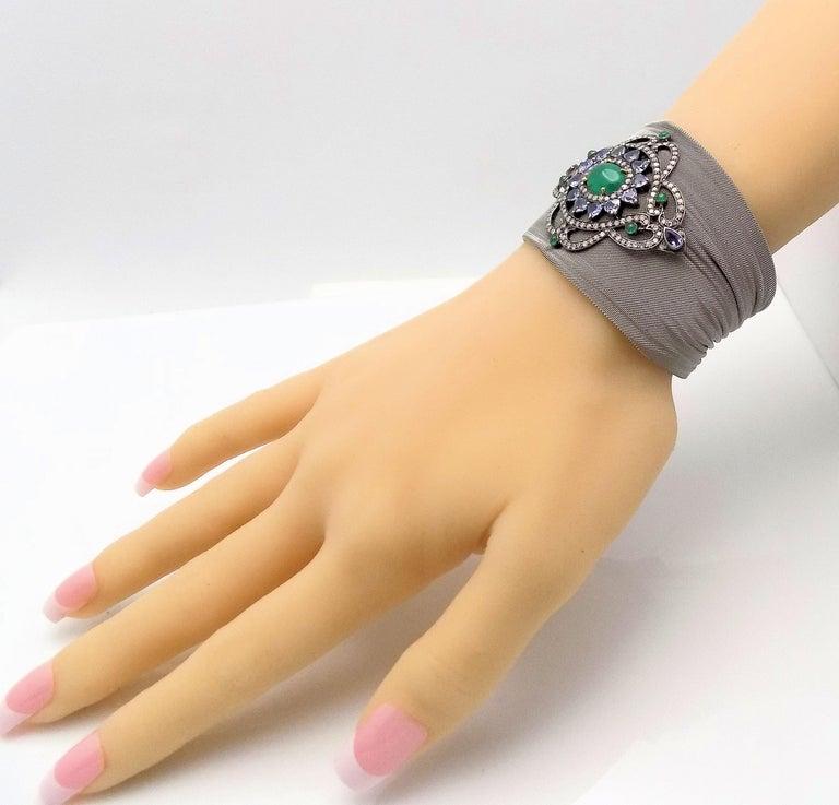 Steel/Silver Mesh Emerald, Tanzanite and Diamond Hinged Bracelet For Sale 3