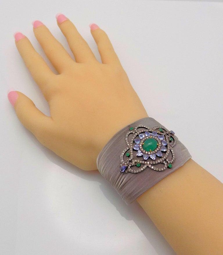 Steel/Silver Mesh Emerald, Tanzanite and Diamond Hinged Bracelet For Sale 4