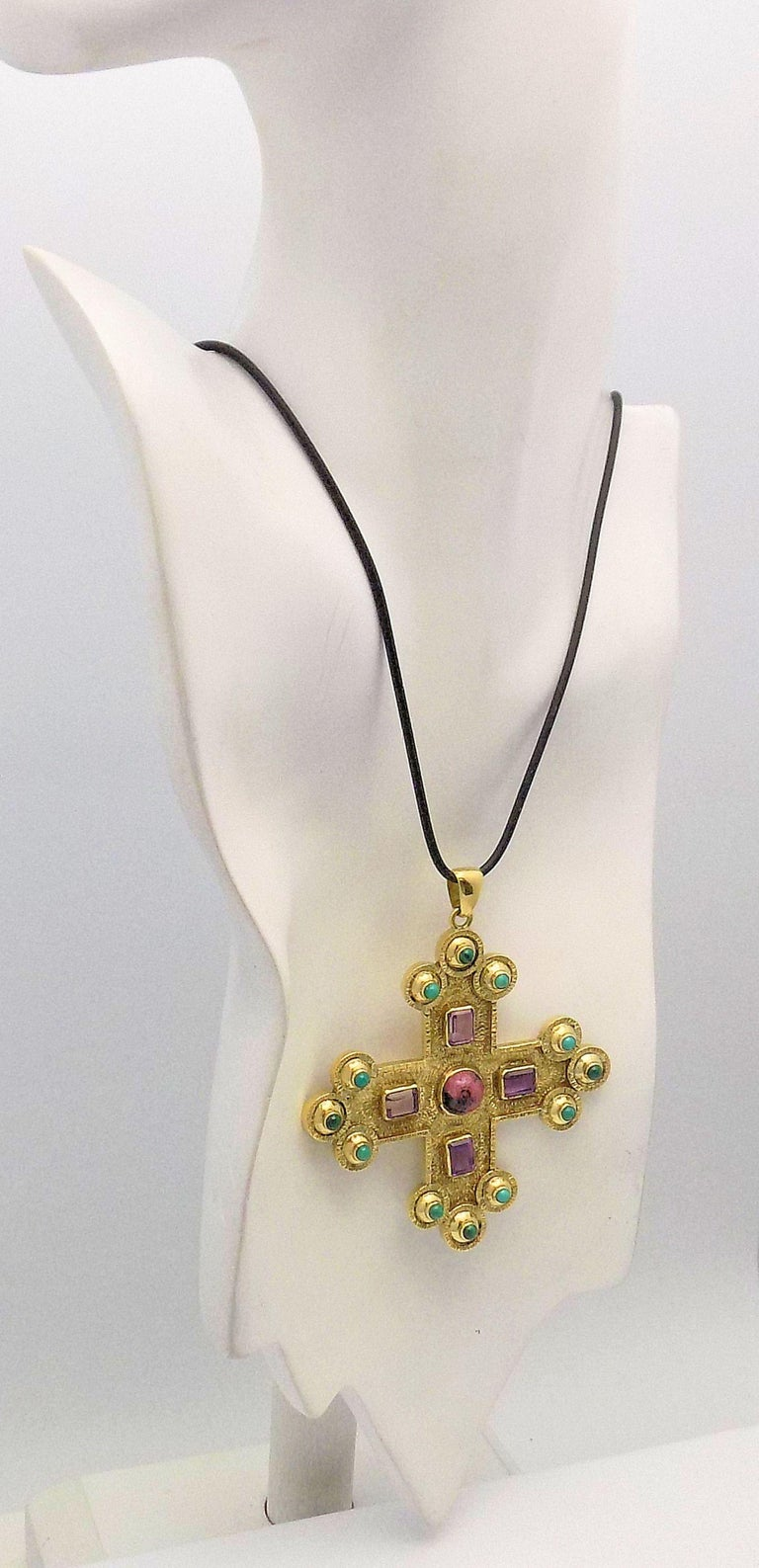Amethyst, Turquoise, Malachite and Rhodochrosite Textured Gothic Cross Pendant In As New Condition For Sale In Dallas, TX
