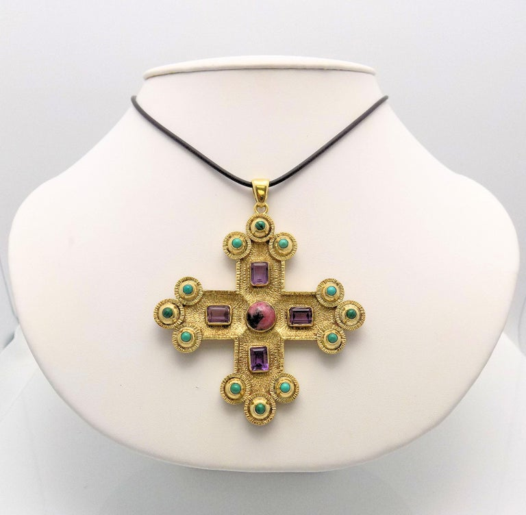 Gothic Revival Amethyst, Turquoise, Malachite and Rhodochrosite Textured Gothic Cross Pendant For Sale