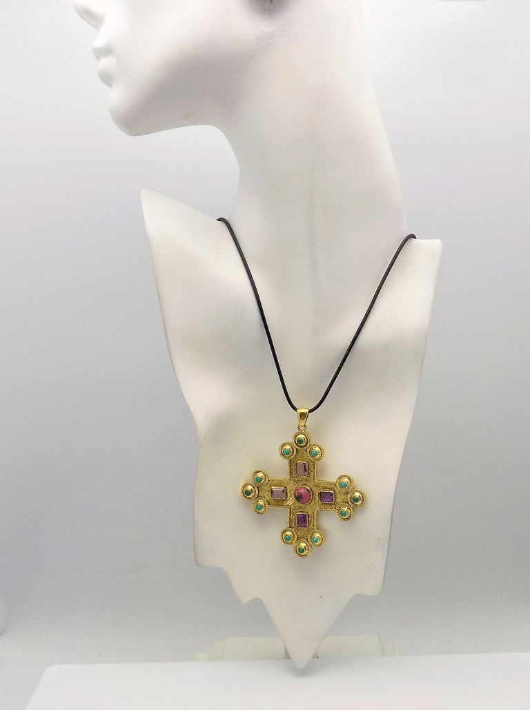 Amethyst, Turquoise, Malachite and Rhodochrosite Textured Gothic Cross Pendant For Sale 2