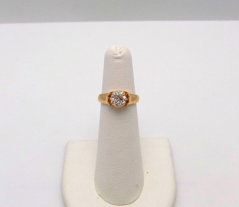 Old European Cut Diamond Solitaire Ring For Sale