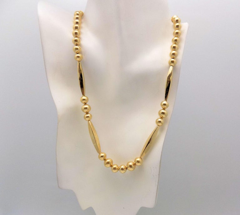 Gold Bead Necklace For Sale 3