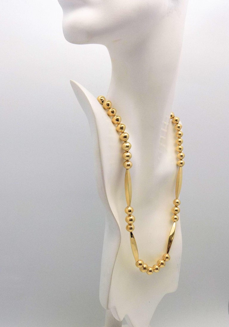 Gold Bead Necklace For Sale 4