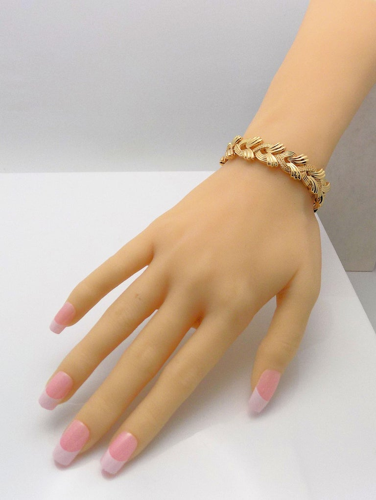 Women's 14 Karat Yellow Gold Woven Link Bracelet For Sale