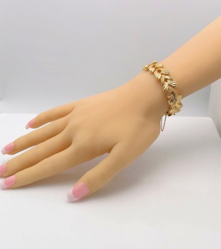 14 Karat Yellow Gold Woven Link Bracelet For Sale 1