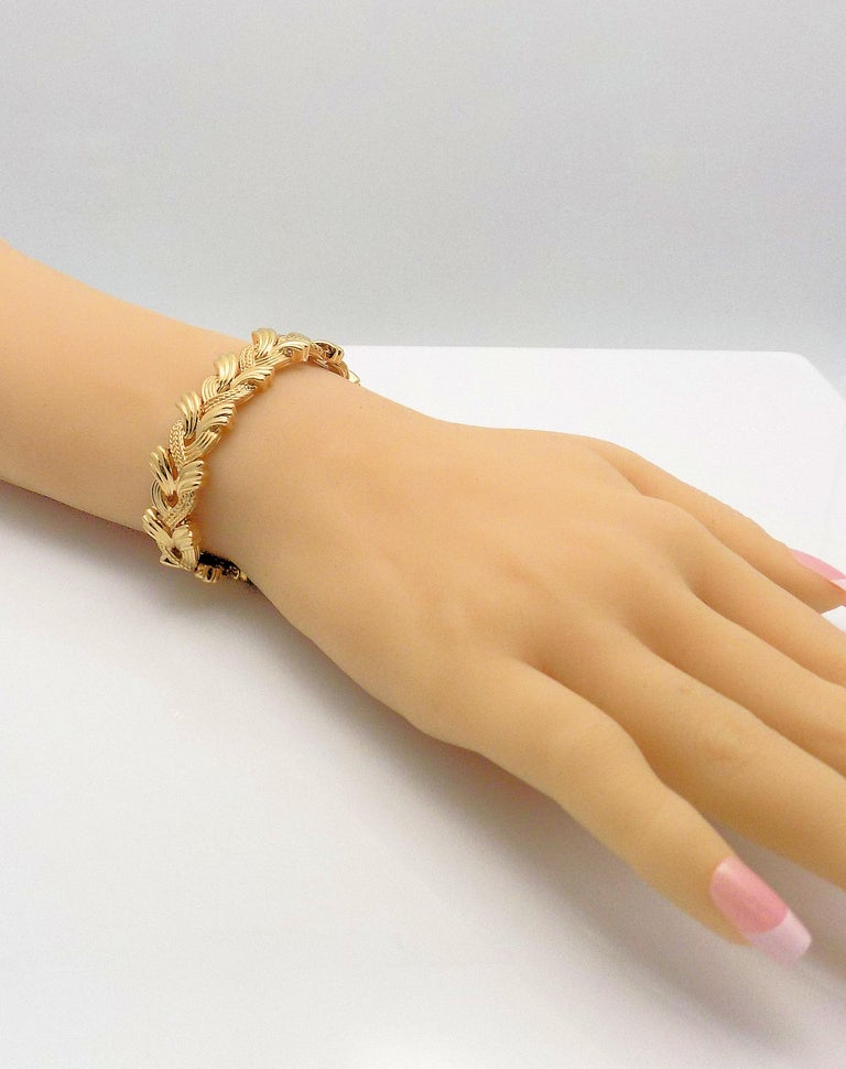 14 Karat Yellow Gold Woven Link Bracelet For Sale 2