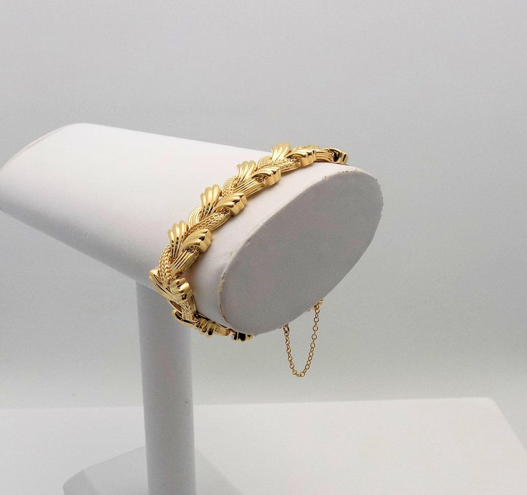 Stunning 14 Karat Yellow Gold Woven Link Bracelet 6.25
