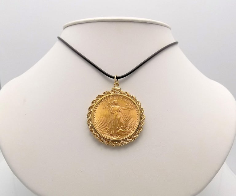 Gold US 1923 $20 Coin Pendant For Sale 1