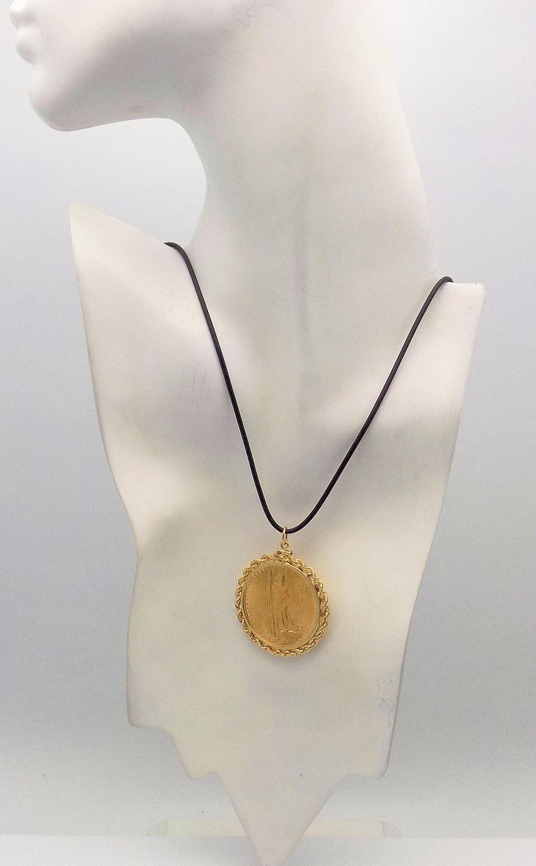 Gold US 1923 $20 Coin Pendant For Sale 2