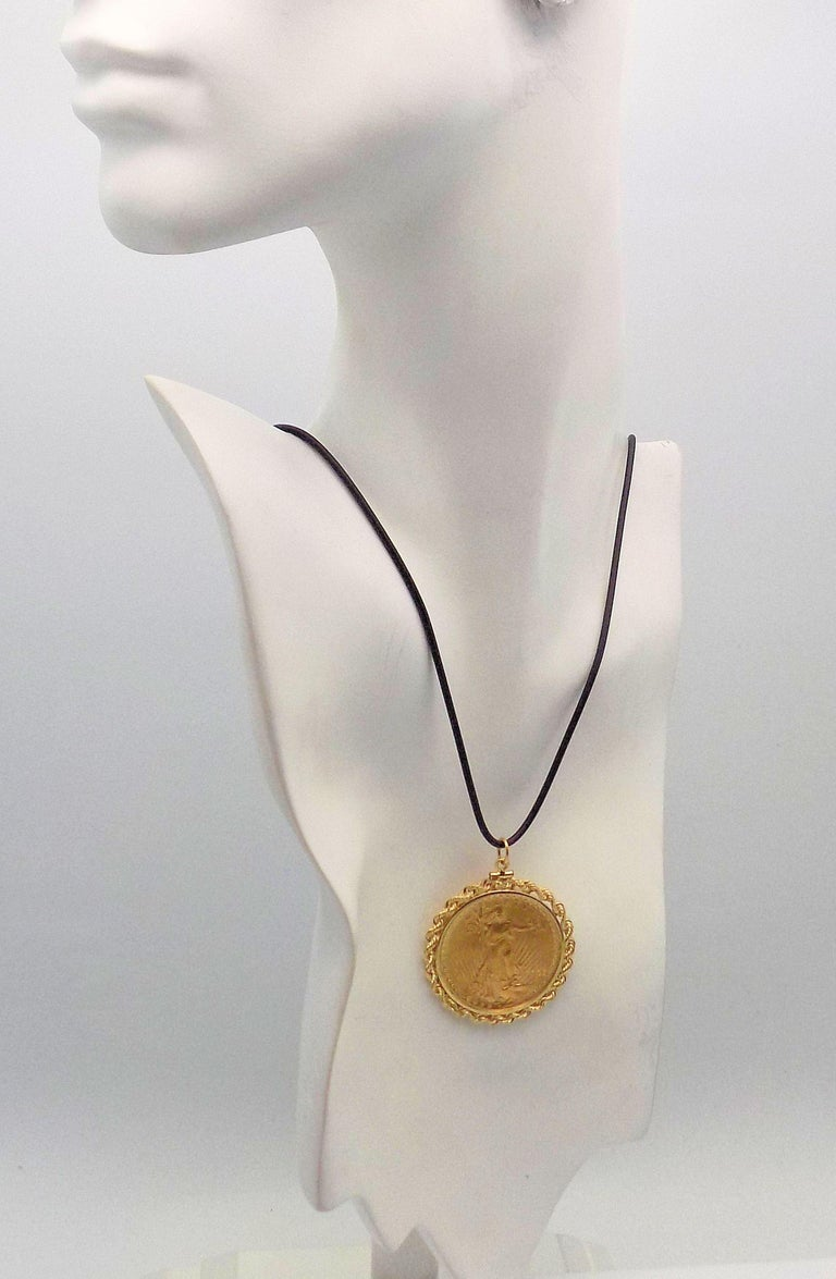 Gold US 1923 $20 Coin Pendant For Sale 3