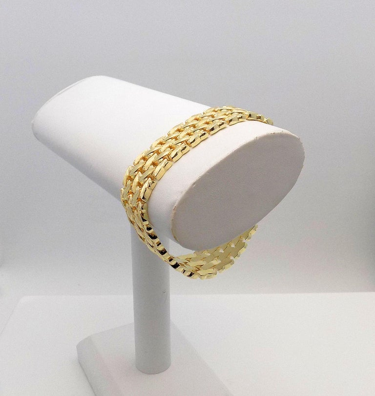Stunning 14 Karat Yellow Gold 5 Row Line Bracelet. Textured Leaf Pattern, 19.5 MM Wide 7.5