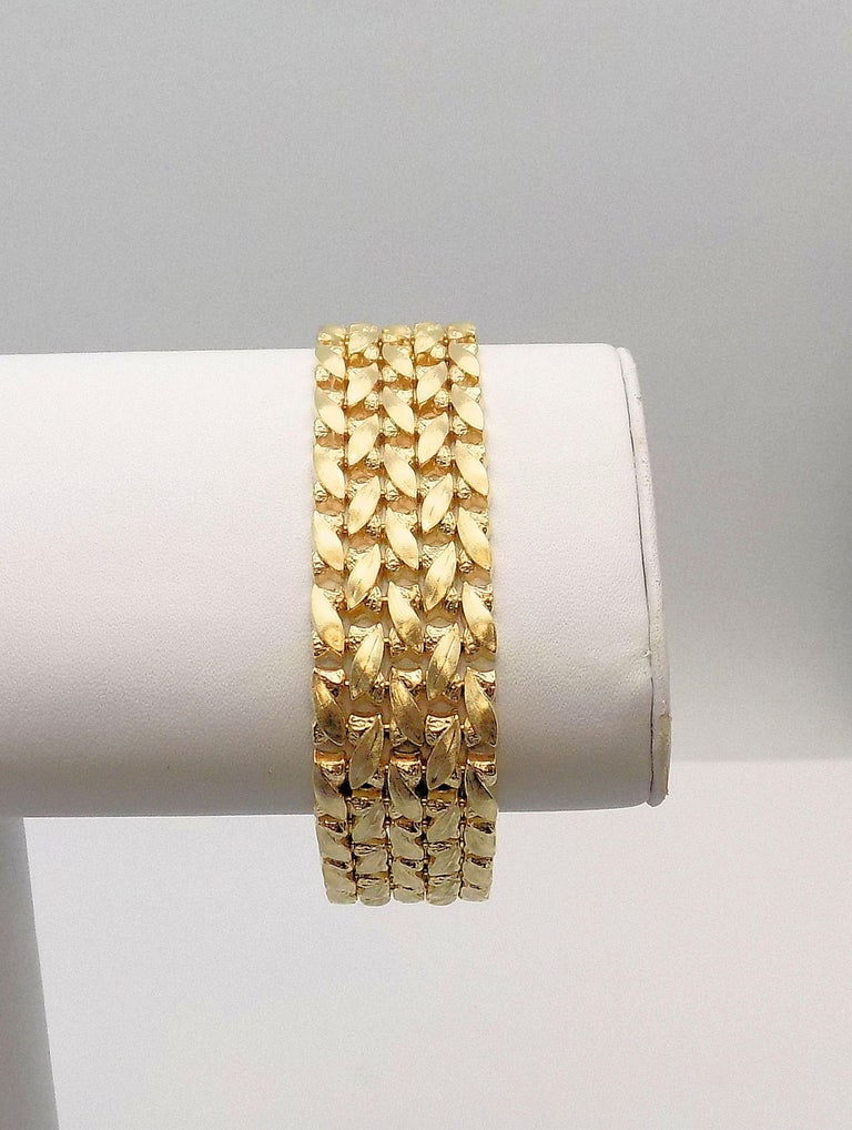 14 Karat Yellow Gold Five-Row Line Bracelet In New Condition For Sale In Dallas, TX