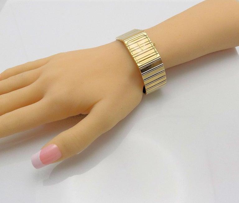 Classic 14 Karat Yellow Gold/White Gold  Wrist Watch, 7 Jewel Swiss Movement, Tapered Band, 6.5