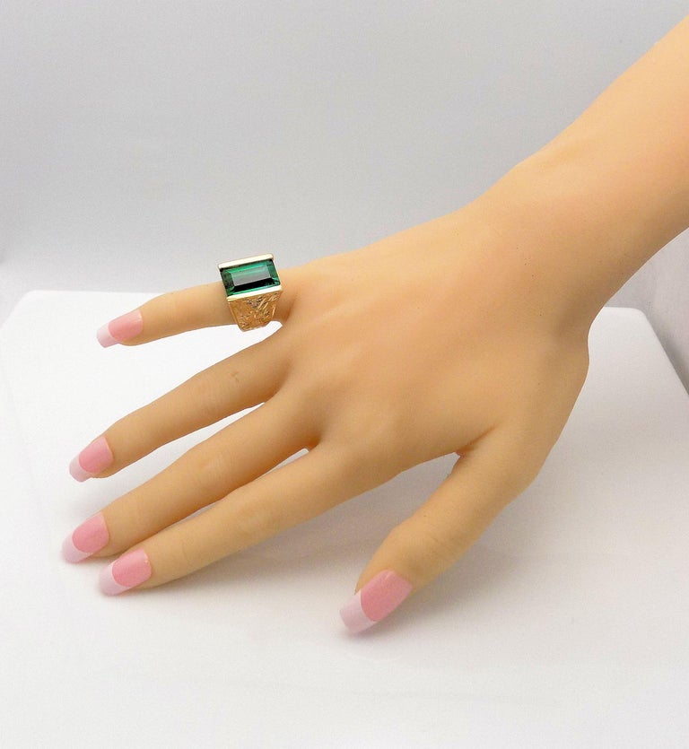 Emerald Cut Tourmaline and Diamond Ring For Sale