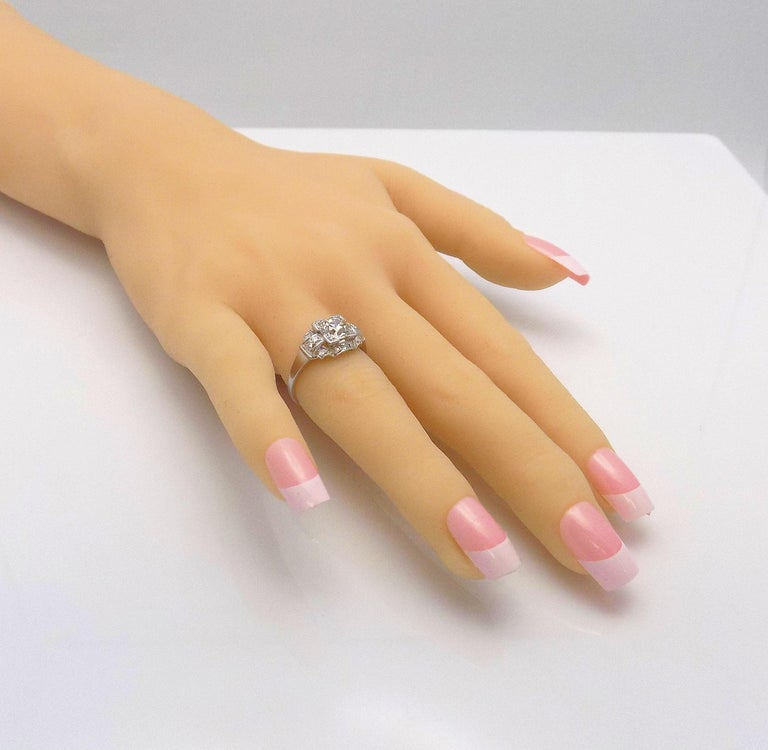 Platinum and Diamond Ring For Sale 4