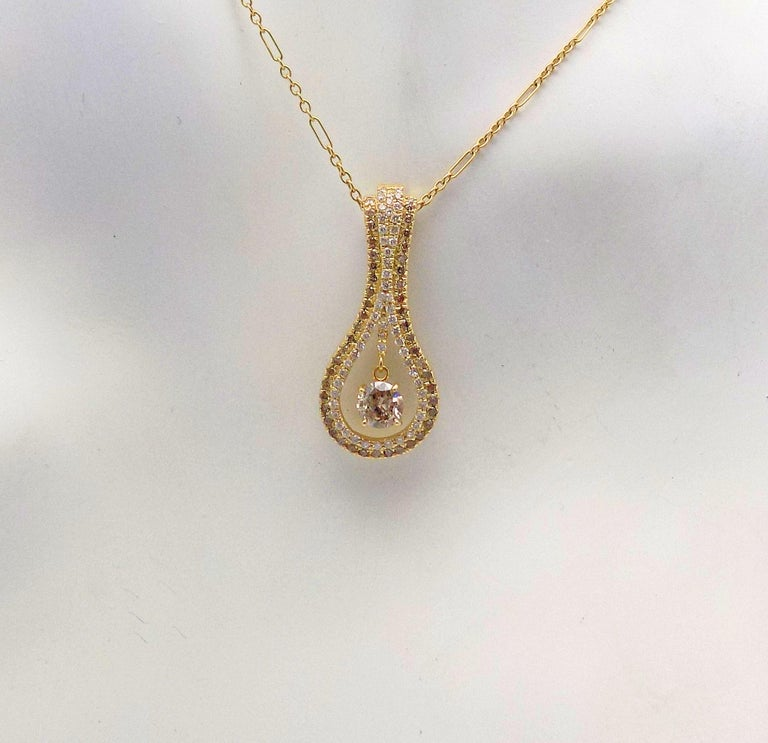 Diamond Pendant and Earrings Set For Sale 1
