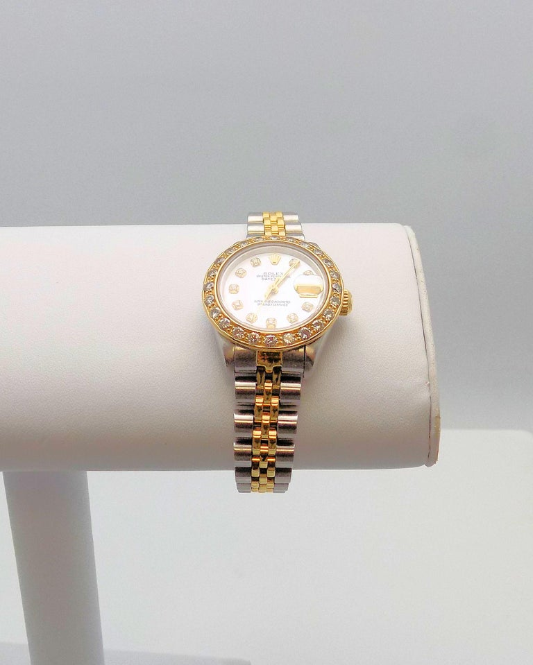 Lady's Diamond Rolex Wrist Watch with Mother-of-Pearl Dial For Sale 1