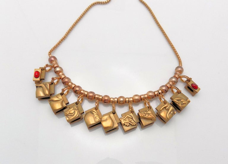 Women's Bronze Berrocal Sculptural Puzzle Necklace, with Ring Inside, and Plaque For Sale