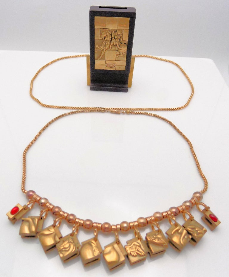 Bronze Berrocal Sculptural Puzzle Necklace, with Ring Inside, and Plaque In Excellent Condition For Sale In Dallas, TX