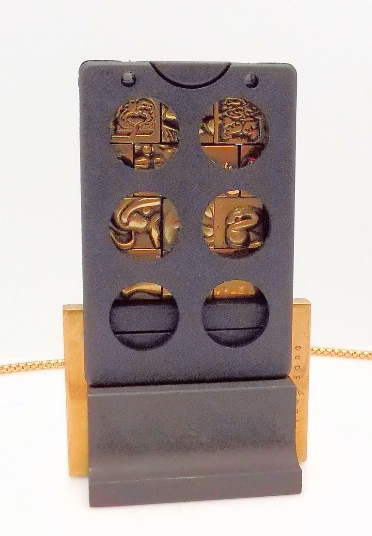 Bronze Berrocal Sculptural Puzzle Necklace, with Ring Inside, and Plaque For Sale 3