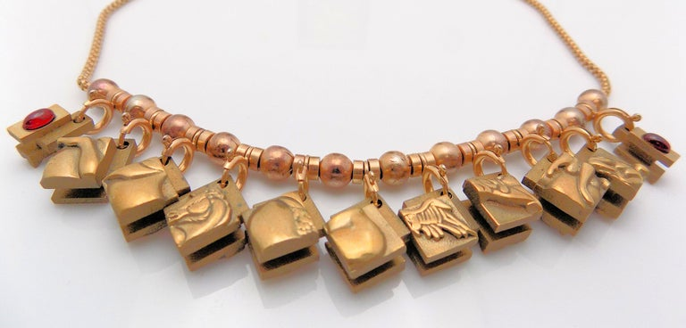 Bronze Berrocal Sculptural Puzzle Necklace, with Ring Inside, and Plaque For Sale 1