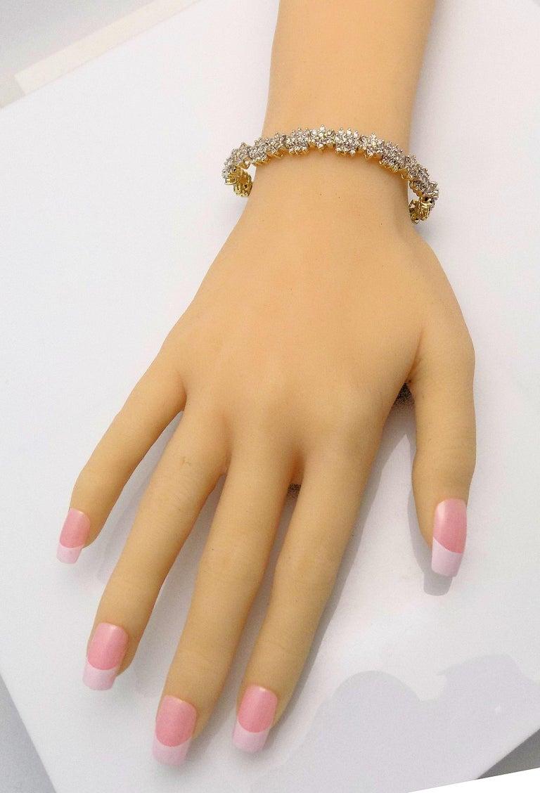 Women's Floral Design Diamond Line Bracelet For Sale